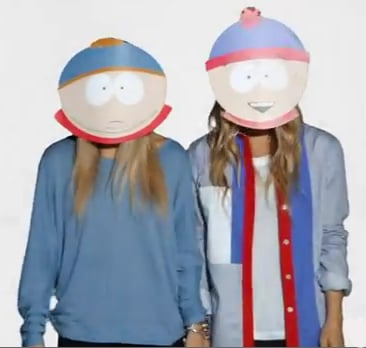 Mary-Kate Olsen and Ashley Olsen got playful in Cartman and Stan masks.