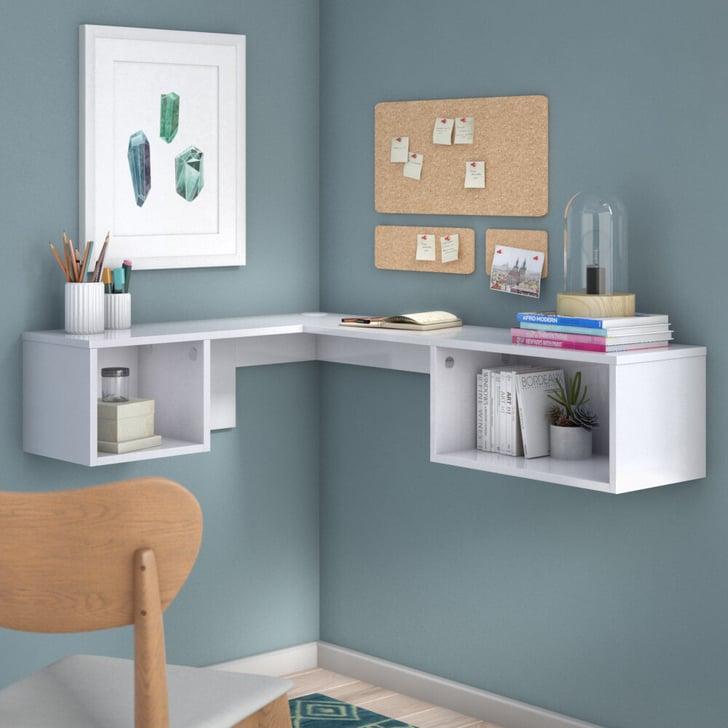 Orren Ellis Chaves L Shape Floating Desk With Hutch The