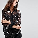 Religion Oversized Shirt With Dark Butterfly Print