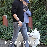 Jennifer Aniston and Justin Theroux kept an eye on their pup, Dolly, while out in LA in November 2011.