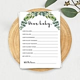 Dear Baby Printable Wish Cards