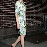 Michelle Williams in a three-quarter sleeve dress in NYC.
