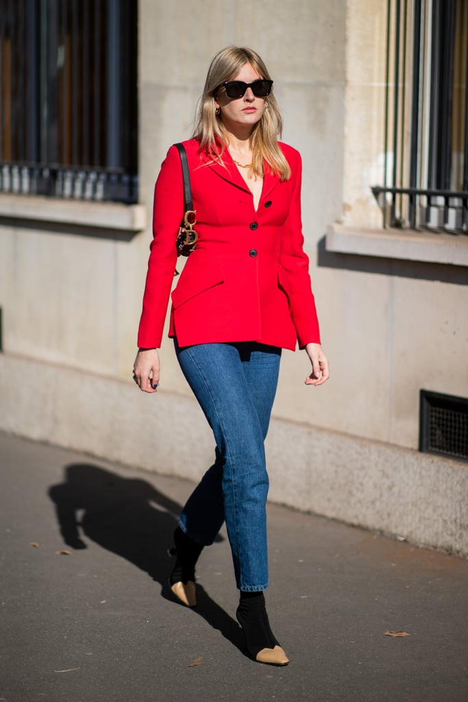 Whether you're a color-lover or more bright-hue shy, skinny jeans are just the gateway you need to rock that bright red jacket or blazer this season.