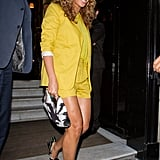 Beyoncé worked a yellow Surface to Air shorts suit and Prada heels while out and about in Paris.