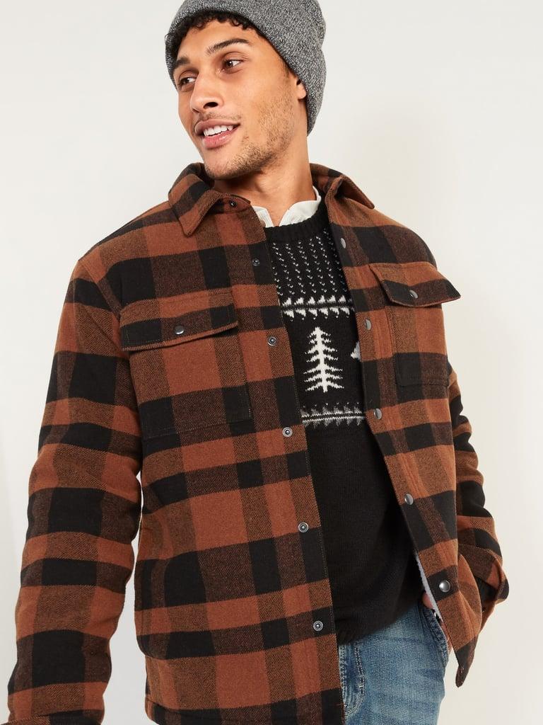 Cosy Sherpa-Lined Plaid Wool-Blend Shirt Jacket