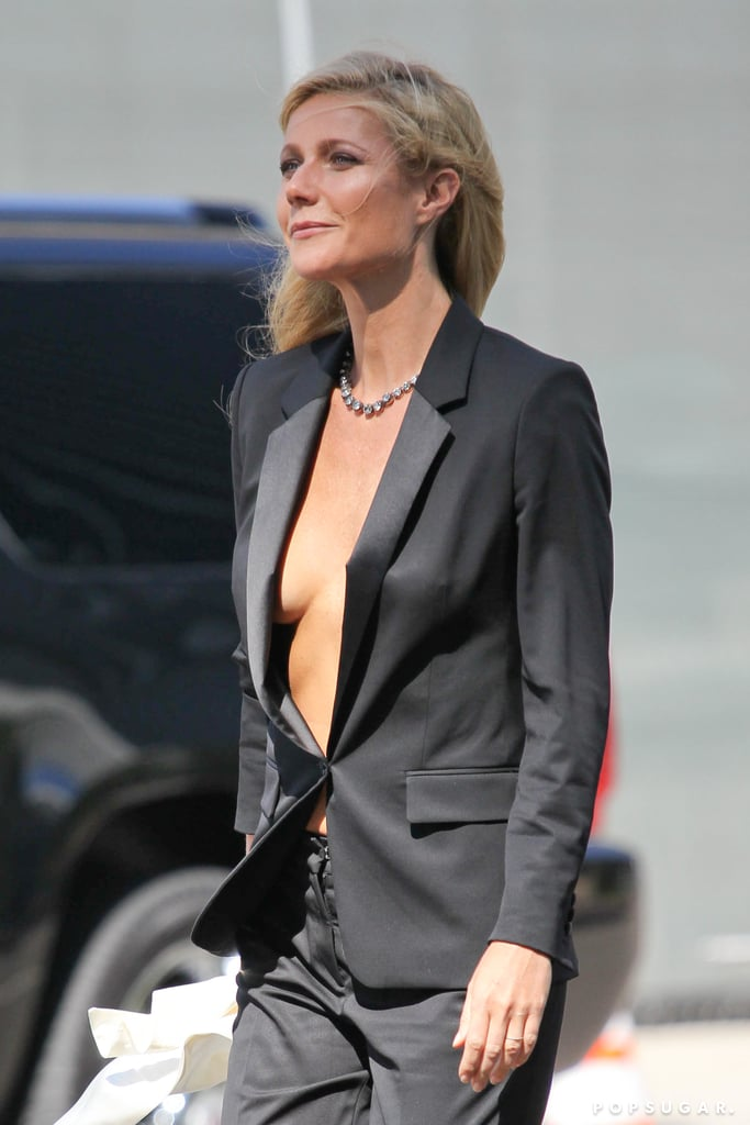 Gwyneth Paltrow showed skin on the set of her Hugo Boss campaign shoot.
