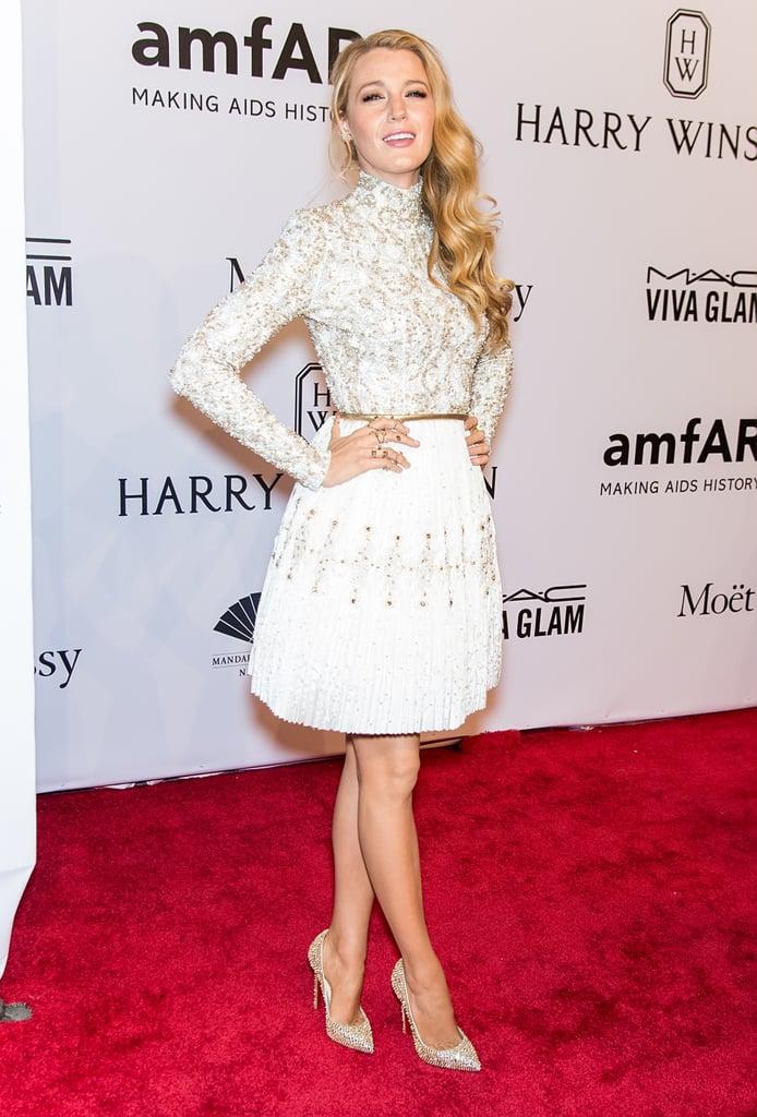 Wearing a white ensemble to the 2016 amfAR New York Gala.