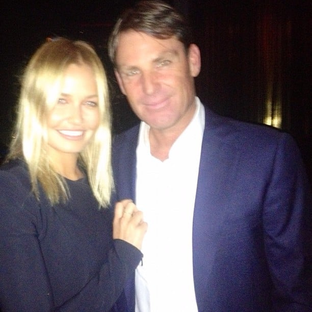 Lara Bingle caught up with Shane Warne in Melbourne. Source: Instagram user mslbingle