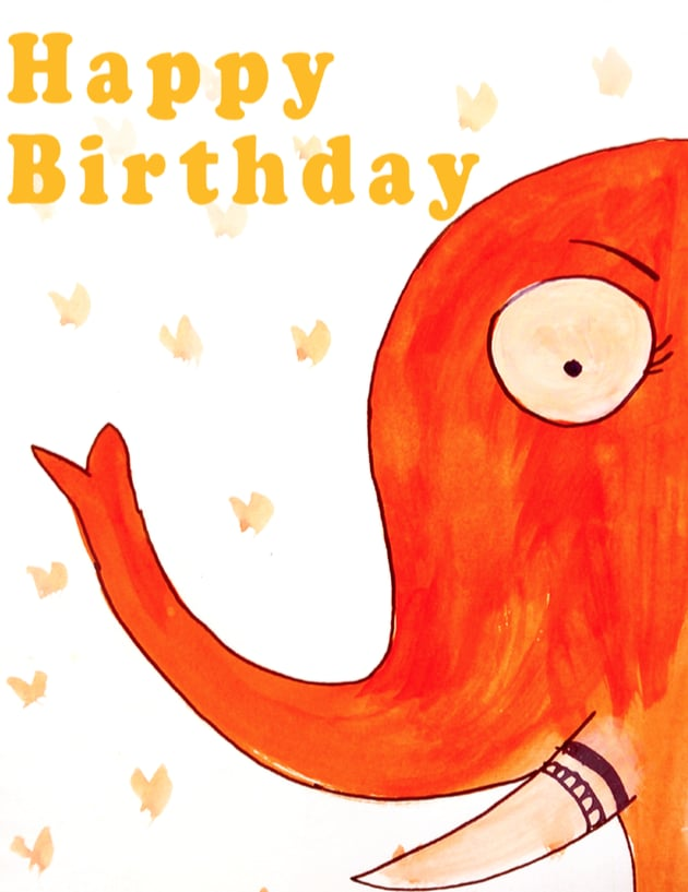 photograph relating to Printable-cards.gotfreecards identify Elephant Totally free Printable Playing cards For Birthdays POPSUGAR