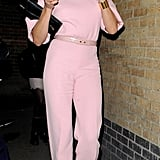 Cameron Diaz was dressed in a pink Emilia Wickstead pantsuit for a London dinner party.
