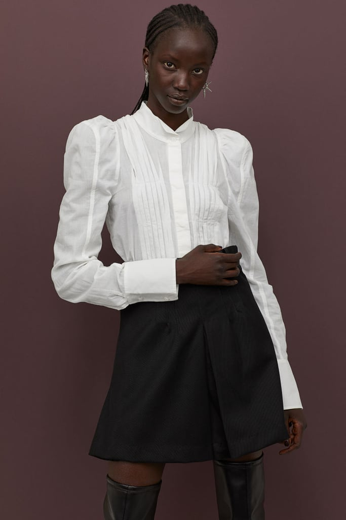 H&M Cotton Puff-Sleeved Blouse and Flared Wool-Blend Skirt