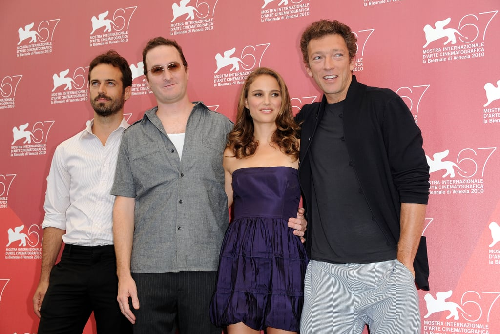 Benjamin Millepied, Darren Aronofsky, Natalie Portman, and Vincent Cassel were together for a Black Swan photocall during the Venice Film Festival in 2010.