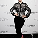 Coco Rocha gave her outfit a kick in the butt via hot pink pumps at BCBG Max Azria.