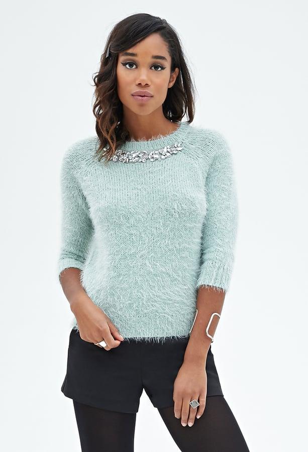 Forever 21 Embellished Shaggy Sweater