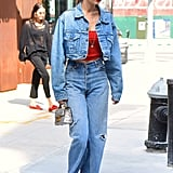 Like her sister Bella, Gigi's a fan of denim on denim. She wore Re/Done kick flares and Stuart Weitzman Clingy booties. You can easily re-create the look with just two pieces: a denim jacket and jeans of the same wash.