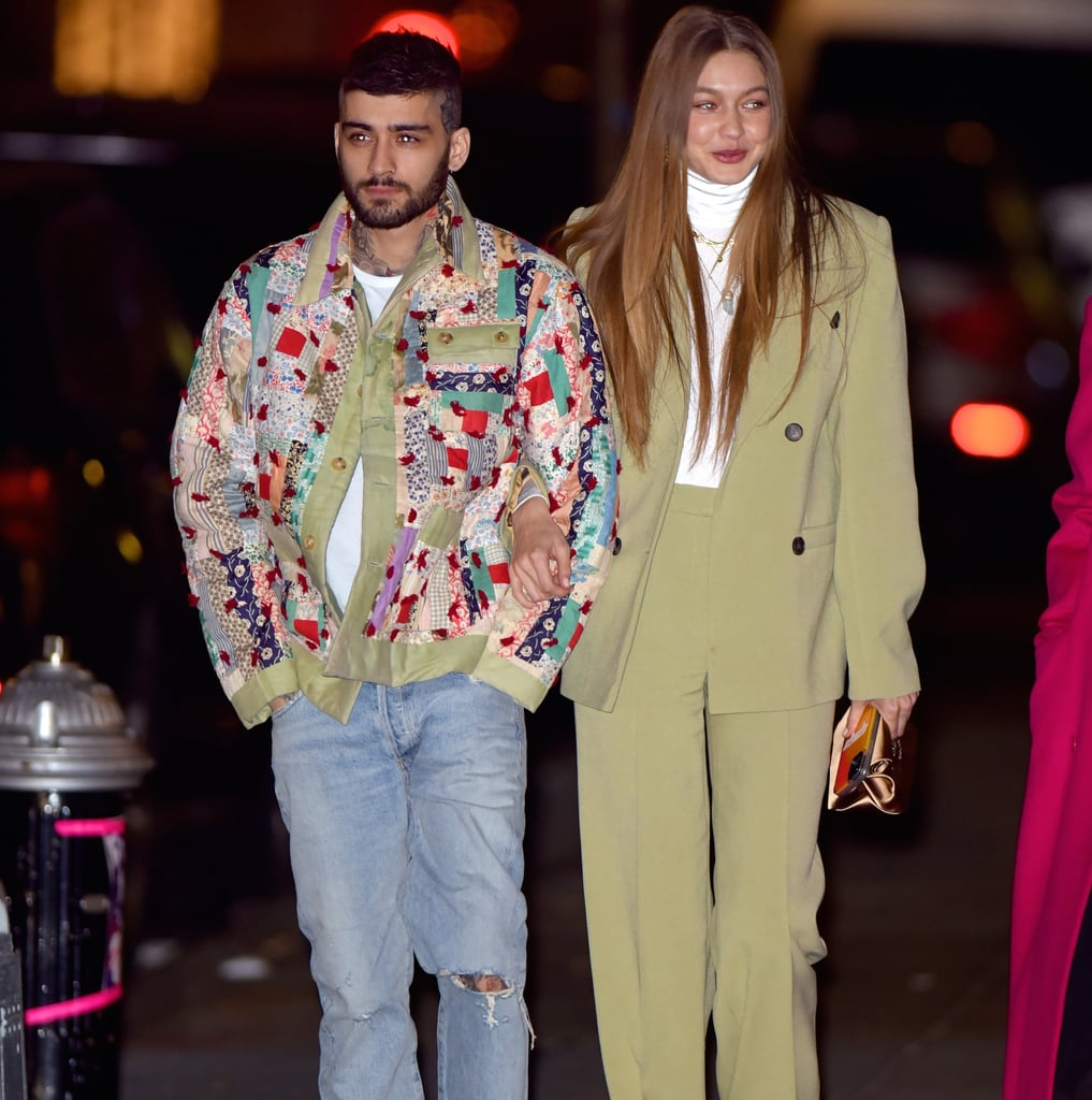 Zayn Malik With Gigi Hadid Wearing a Patchwork Coat in NYC