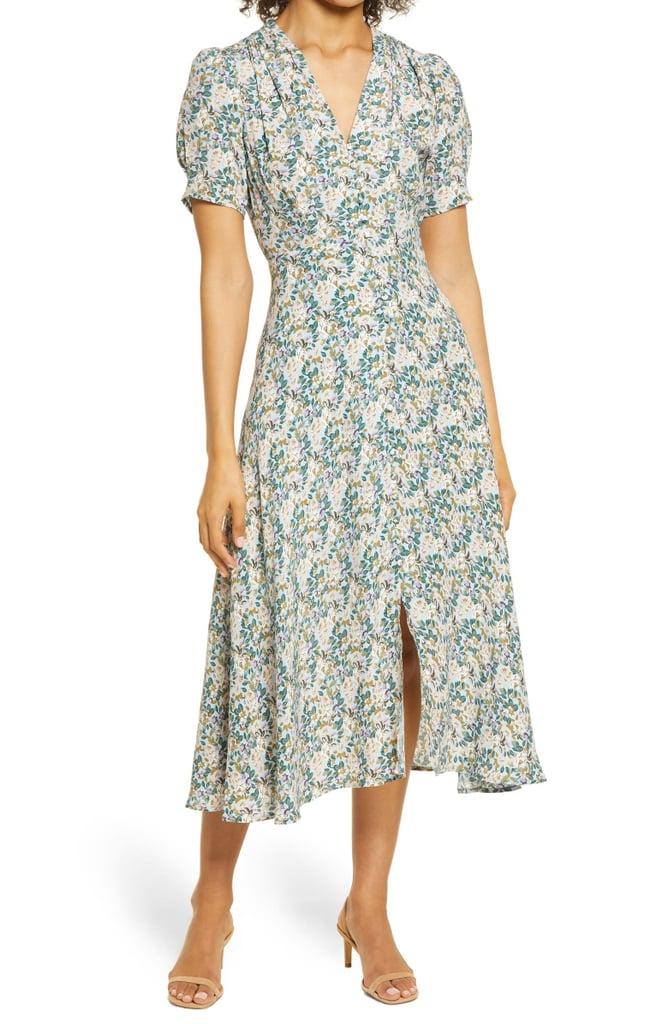 Floret Studios Floral Button Front Midi Dress