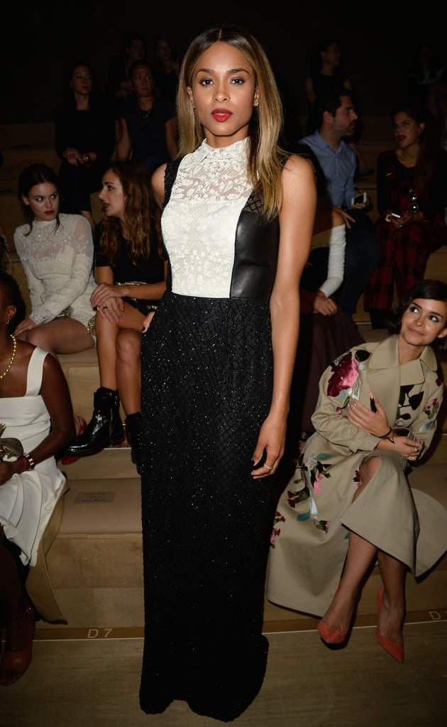 At Valentino, Ciara got serious in a combination of leather, lace, and sequins.