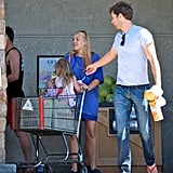 Busy Philipps bumped into Joshua Jackson while grocery shopping with Birdie in LA.