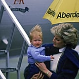 Diana carried Harry off the plane at Aberdeen Airport in September 1985.