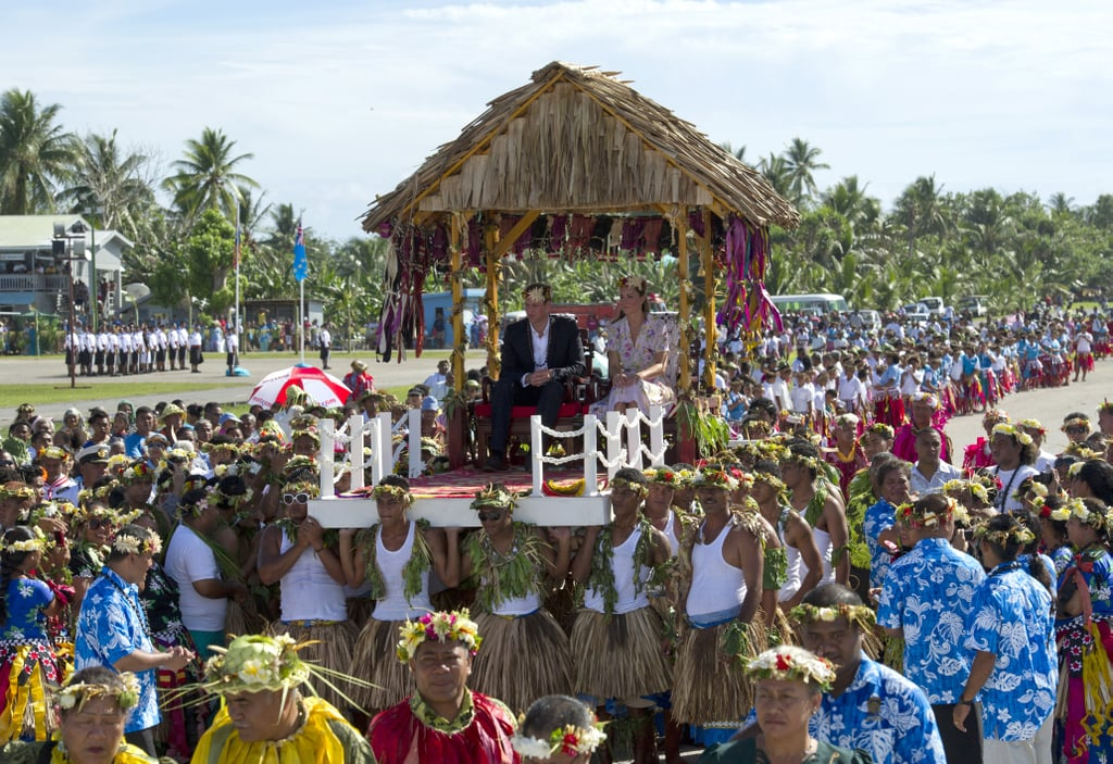 Kate Middleton and Prince William were carried into a farewell ceremony in Tuvalu.