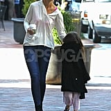 Katie Holmes walked with Suri Cruise in Pittsburg.
