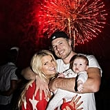 Jessica Simpson tweeted a sweet picture of herself with fiancé Eric Johnson and their daughter, Maxwell, celebrating the Fourth of July in 2012.