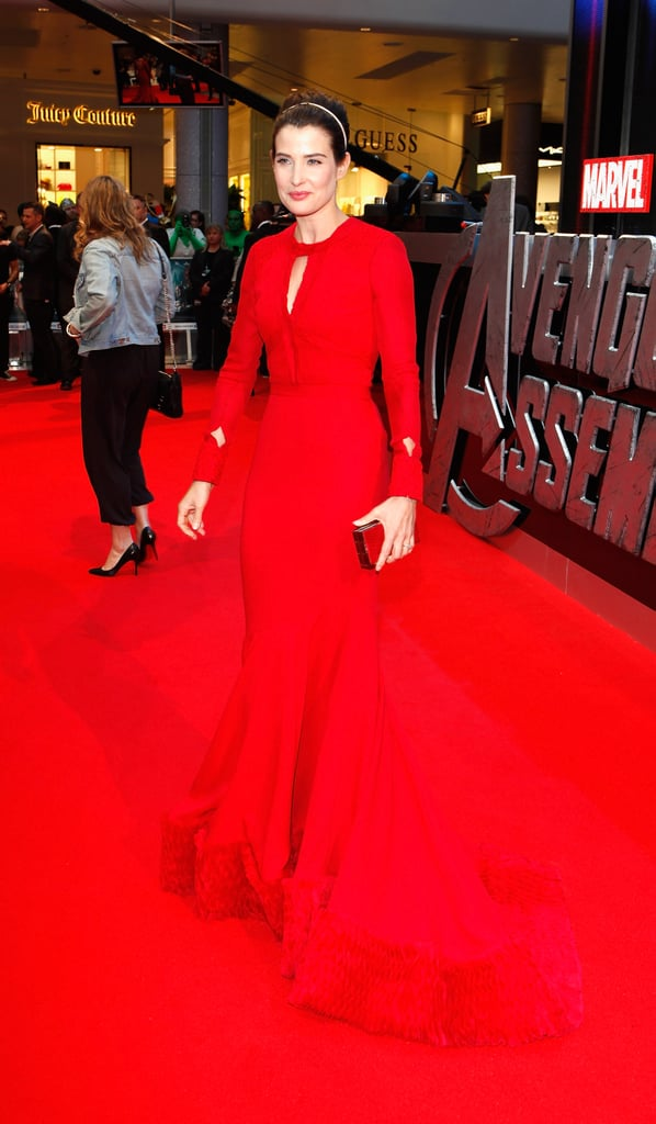 Cobie Smulders matched the red carpet to her gown at the premiere of The Avengers in London.
