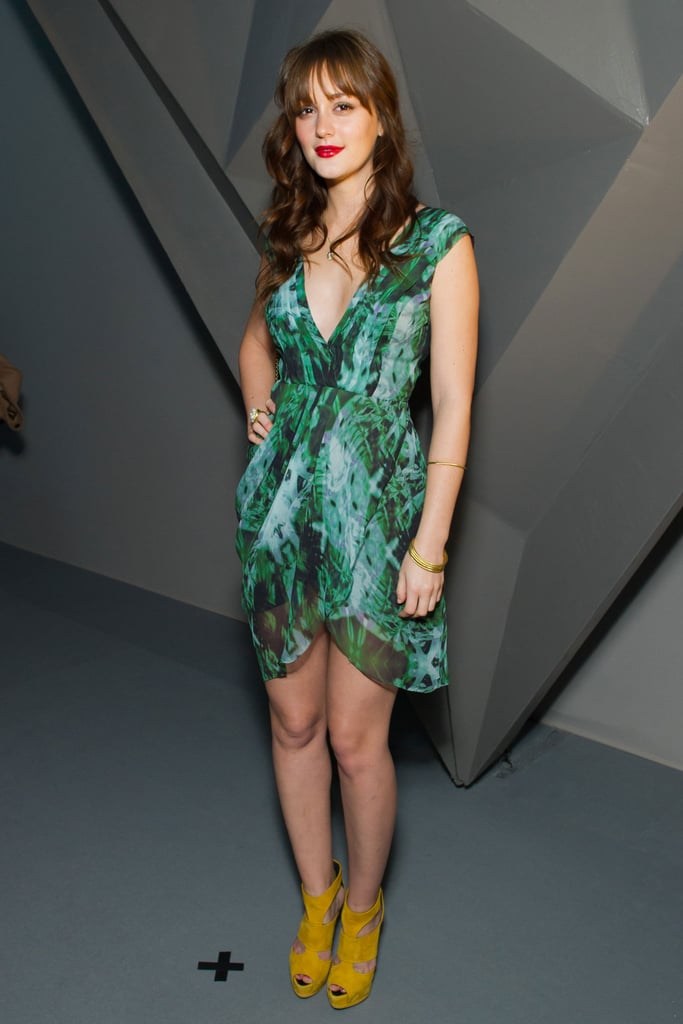 Leighton Meester paired neoprene heels with her flirty bright dress at Vera Wang.