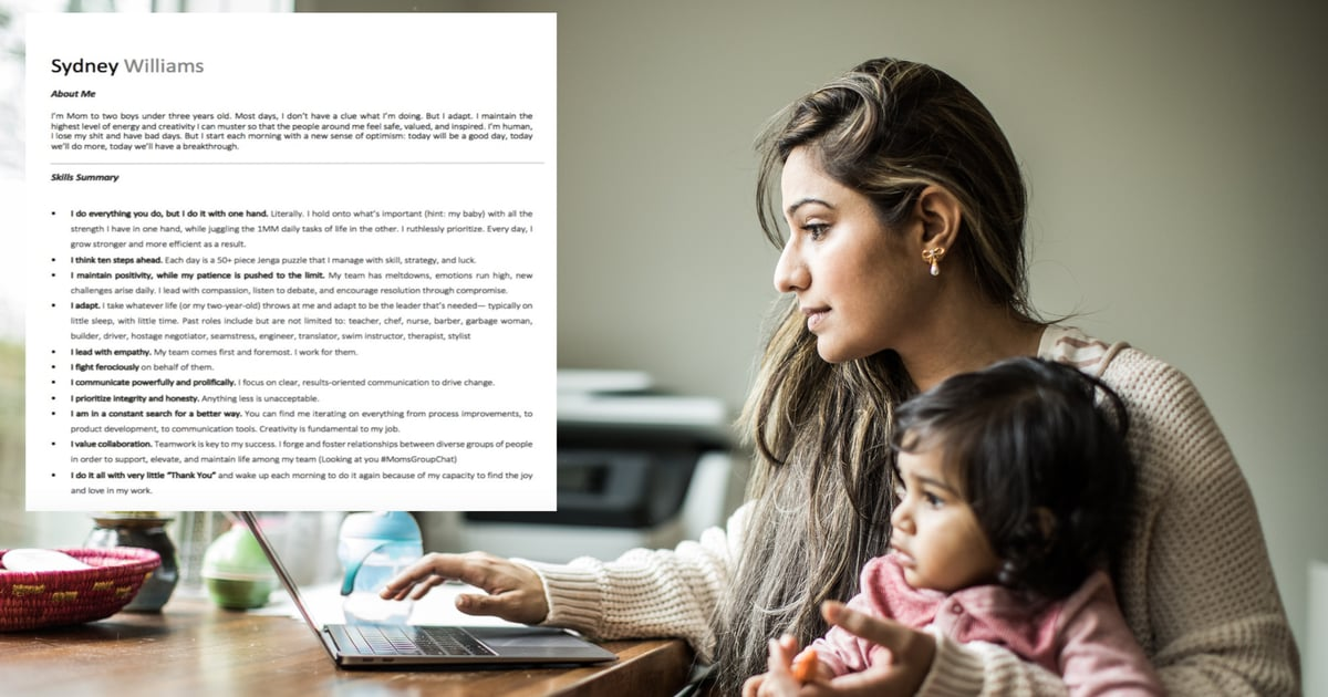 """This Woman's """"Mom Resume"""" Shows Why Raising Kids Is Its Own Full-Time Job"""