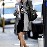 Jessica Biel wore a fur collar in NYC.