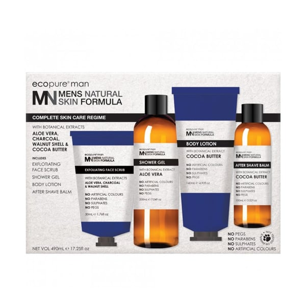Epocure Men's Natural Skin Formula Man Complete Skin Care Regime Pack ($25) The Ecopure Men's Natural Skin Formula Skin Care Regime Pack will help any man take control of his skincare and the four products within the pack will revitalise his skin.