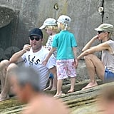 Naomi Watts and Liev Schreiber set a sun-safe example in hats for Sasha and Samuel Schreiber.