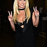 Britney Spears joked around backstage.