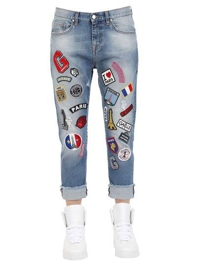 Gaella Paris Embroidered Patch Denim Jeans ($365)