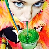 """Saving my soul from da poison!!!!!"" was Miley's caption to this recent Instagram. Green juice may not undo a big night out, but it's definitely better than nothing."