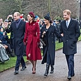 The foursome arrived side by side for Christmas Day church services on the Sandringham estate in 2018.