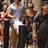 Miley Cyrus held onto Liam Hemsworth's arm while out and about in Philadelphia together in July 2012.