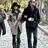 Ryan Gosling with Eva Mendes at a park in Paris.