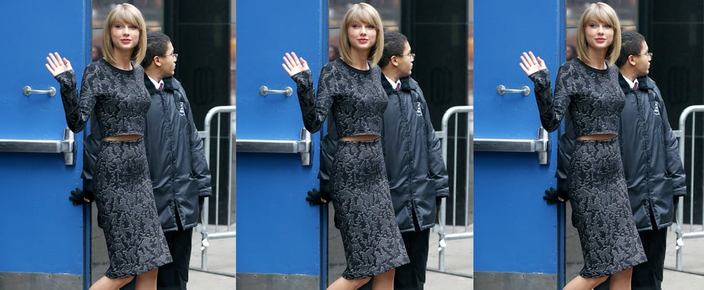 Taylor Swift in Navy Animal Print Skirt and Crop Top