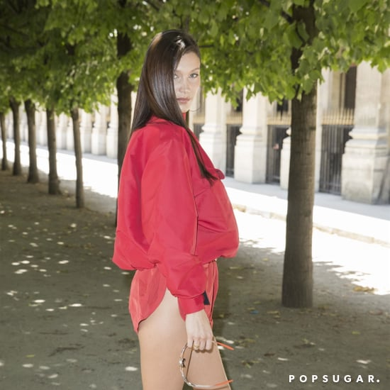 Bella Hadid Red Shorts Louis Vuitton Show in Paris