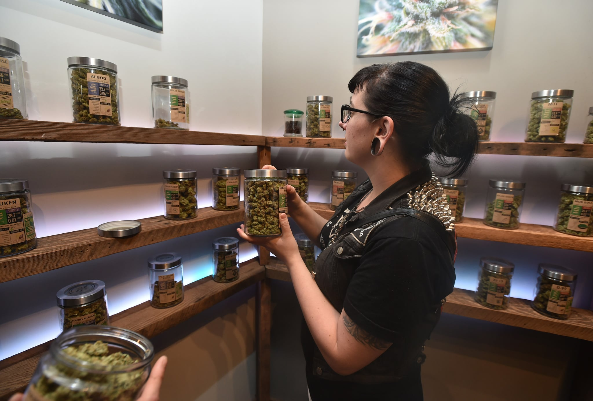 A woman shops at Oregon's Finest, a marijuana dispensary in Portland, Oregon, on October 4, 2015. As of October 1, 2015 limited amounts of recreational marijuana became legal for all adults over the age of 21 to purchase in the state of Oregon. AFP PHOTO/JOSH EDELSON        (Photo credit should read Josh Edelson/AFP/Getty Images)