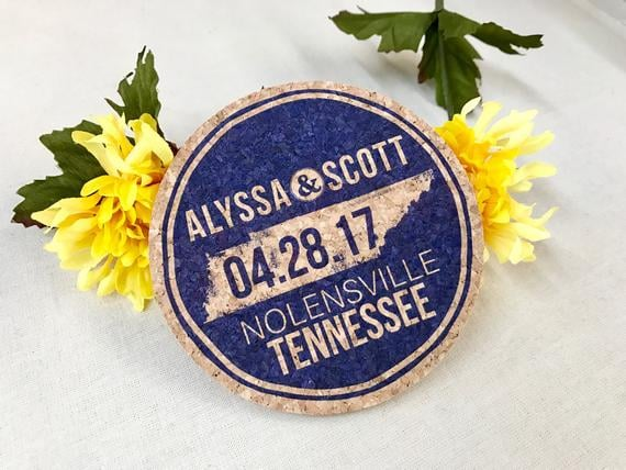 Rustic Navy Tennessee State Cork Coaster