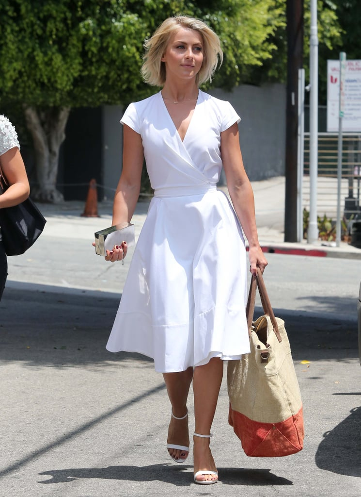 Julianne Hough was a vision of Summer in her white wrap dress and matching sandals in West Hollywood.