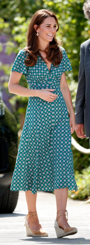 Kate Middleton Wearing a Green Printed Sandro Dress at Hampton Court Palace