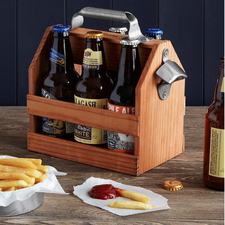Hammer & Axe Bottle Caddy Wood With Opener