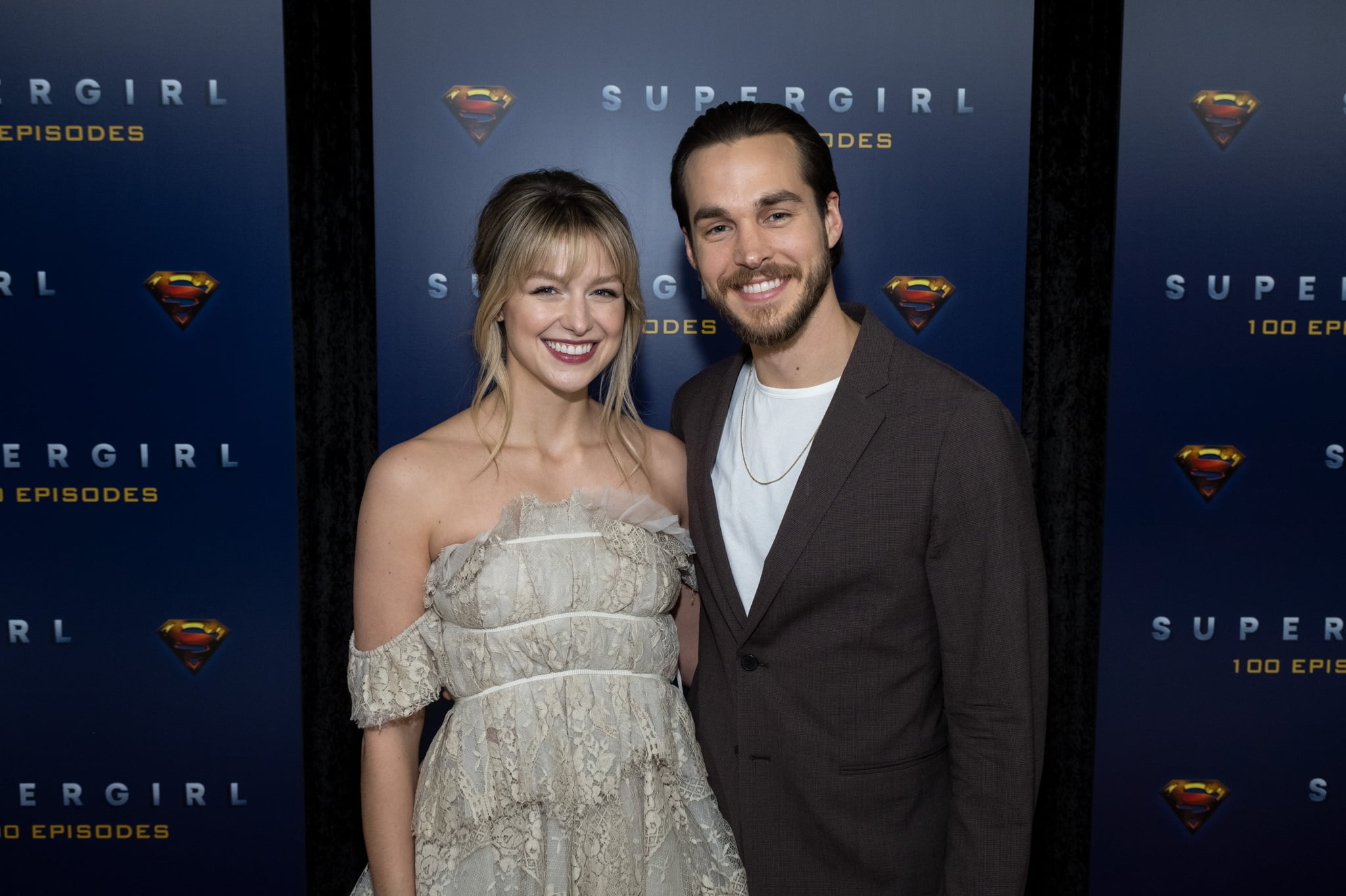 VANCOUVER, BC - DECEMBER 14: (L-R) Supergirl star Melissa Benoist and actor Chris Wood attend the red carpet for the shows 100th episode celebration at the Fairmont Pacific Rim Hotel on December 14, 2019 in Vancouver, Canada. (Photo by Phillip Chin/Getty Images for Warner Brothers Television)