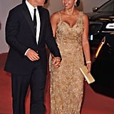 Matt and Luciana Damon arrive at the Contagion premiere.