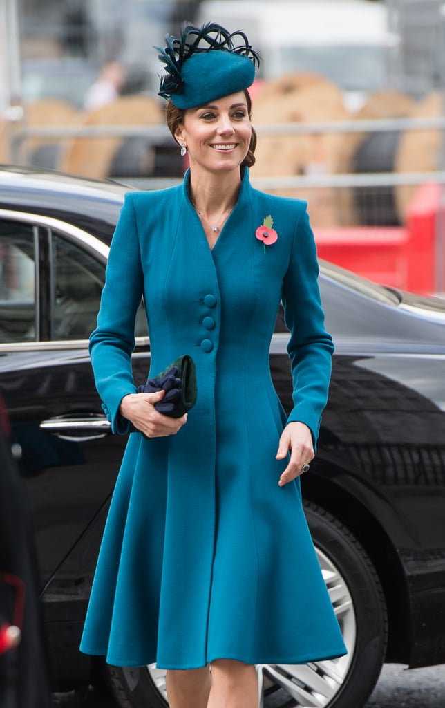 With Prince William currently in New Zealand, and Meghan Markle set to give birth any day now, Kate Middleton and Prince Harry teamed up to represent the royal family at the Anzac Day service at Westminster Abbey in London. Kate did so in her usual style, choosing one of her wardrobe trademarks for the occasion.      Related:                                                                                                           What's Old Is New Again When Kate Middleton Adds a Brooch Onto This Coat               Kate teamed her teal coat, which looks to be a new style from Catherine Walker, one of her go-to designers, with a matching hat in the same shade, finished with small feathers. Green suede pumps and a matching clutch bag finished this look, and the duchess made sure that her poppy was pride of place for this important remembrance event, alongside some simple diamond jewelry. Keep reading for a closer look from all angles.