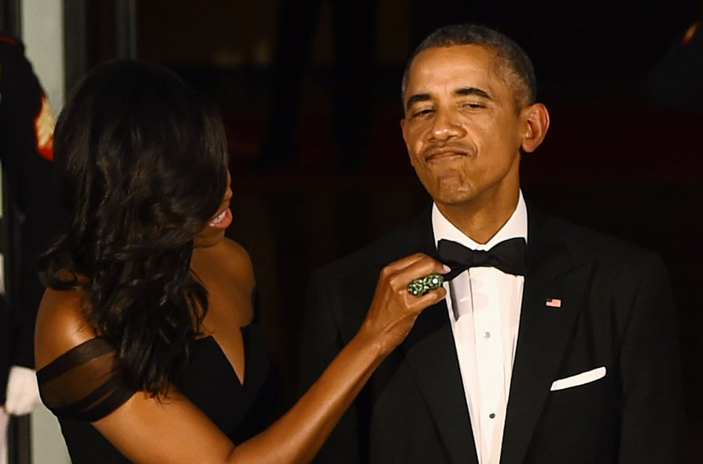 Michelle Obamas Black Dress At State Dinner Popsugar Fashion Photo 10